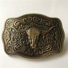 Bronze Bull Head Solid Brass Western Men's Cowboy Belt Buckles Fit 4cm Wide Jeans Belt