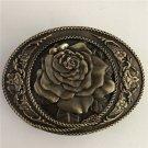Bronze Roses Solid Brass Western Men's Cowboy Belt Buckles Fit 4cm Wide Jeans Belt