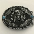 Feathers Indian Man Western Men's Cowboy Belt Buckles Fit 4cm Wide Jeans Belt