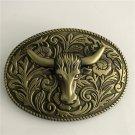 3D Bronze Pattern Bull Head Western Men's Cowboy Belt Buckles Fit 4cm Wide Jeans Belt