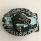 Bass Fishing Western Men's Cowboy Belt Buckles Fit 4cm Wide Jeans Belt