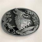 Silver Wolf Head Western Men's Cowboy Belt Buckles Fit 4cm Wide Jeans Belt