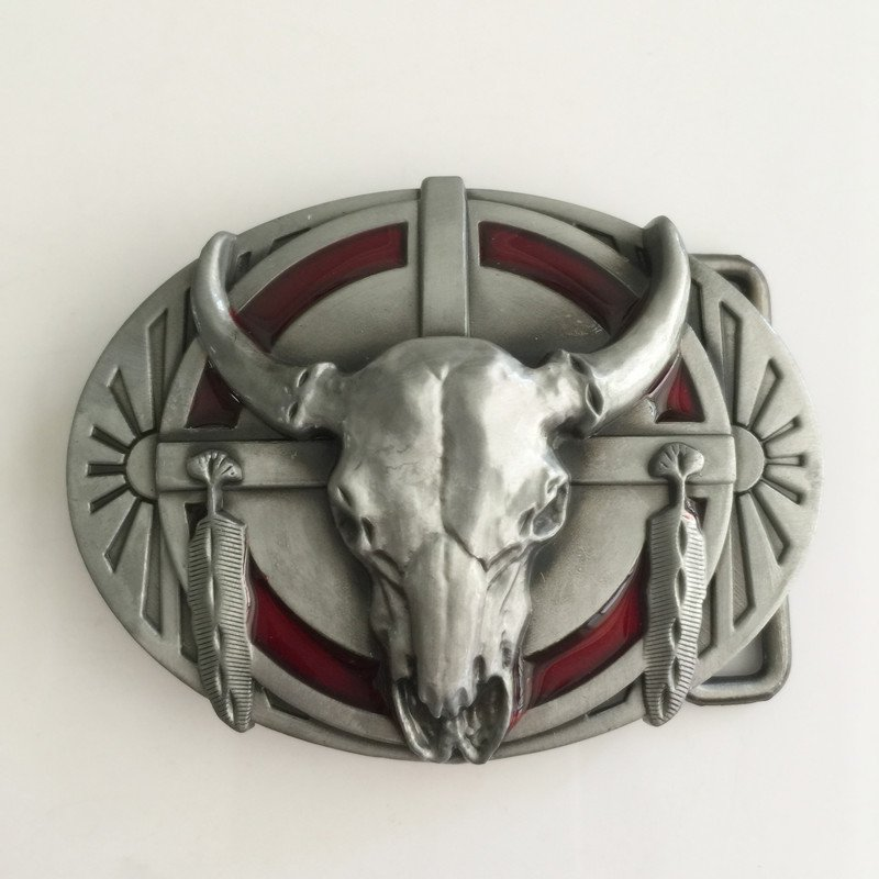 Silver Bull Head Western Men's Cowboy Belt Buckles Fit 4cm Wide Jeans Belt