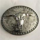Silver Pattern Bull Head Western Men's Cowboy Belt Buckles Fit 4cm Wide Jeans Belt