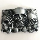 Rectangle Silver Skull Western Men's Cowboy Belt Buckles Fit 4cm Wide Jeans Belt