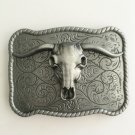 Rectangle 3D Bull Head Western Men's Cowboy Belt Buckles Fit 4cm Wide Jeans Belt