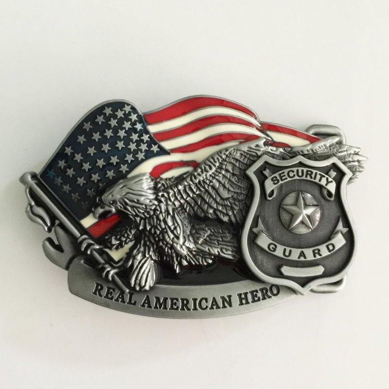 Real American Hero Security Guard Western Men's Cowboy Belt Buckles Fit 4cm Wide Jeans Belt