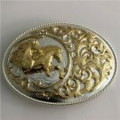 Golden Pattern Horses Western Men's Cowboy Belt Buckles Fit 4cm Wide Jeans Belt