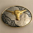 Lace Gold Bull Head Western Men's Cowboy Belt Buckles Fit 4cm Wide Jeans Belt