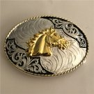 Lace Gold Horse Head Western Men's Cowboy Belt Buckles Fit 4cm Wide Jeans Belt