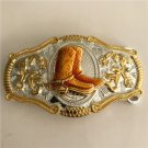 3D Gold Lace Orange Boots Western Men's Cowboy Belt Buckles Fit 4cm Wide Jeans Belt