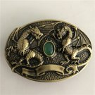 Double Dragon Solid Brass Western Men's Cowboy Belt Buckles Fit 4cm Wide Jeans Belt