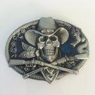 Silver Skull Gun Western Men's Cowboy Belt Buckles Fit 4cm Wide Jeans Belt