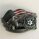 Real American Hero Police Western Men's Cowboy Belt Buckles Fit 4cm Wide Jeans Belt