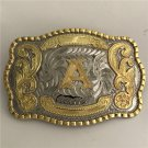 Lace Gold A Initial Letter Western Men's Cowboy Belt Buckles Fit 4cm Wide Jeans Belt
