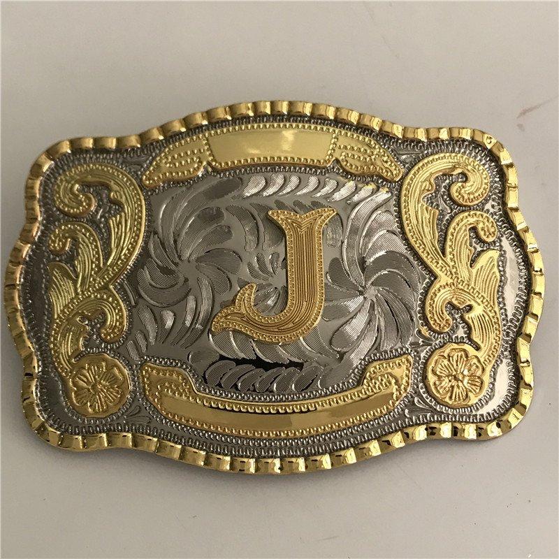 Lace Gold J Initial Letter Western Men's Cowboy Belt Buckles Fit 4cm Wide Jeans Belt