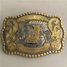 Lace Gold J Initial Letter Western Men's Cowboy Belt Buckles Fit 4cm Wide Jeans Belt