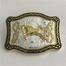Lace Gold Horse Western Men's Cowboy Belt Buckles Fit 4cm Wide Jeans Belt