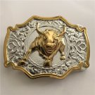 3D Gold Silver Bull Western Men's Cowboy Belt Buckles Fit 4cm Wide Jeans Belt