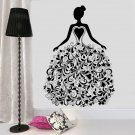 Girl With Flora Pattern Dress Vinyl Sticker Wall Decal For Living Room Wall Stickers