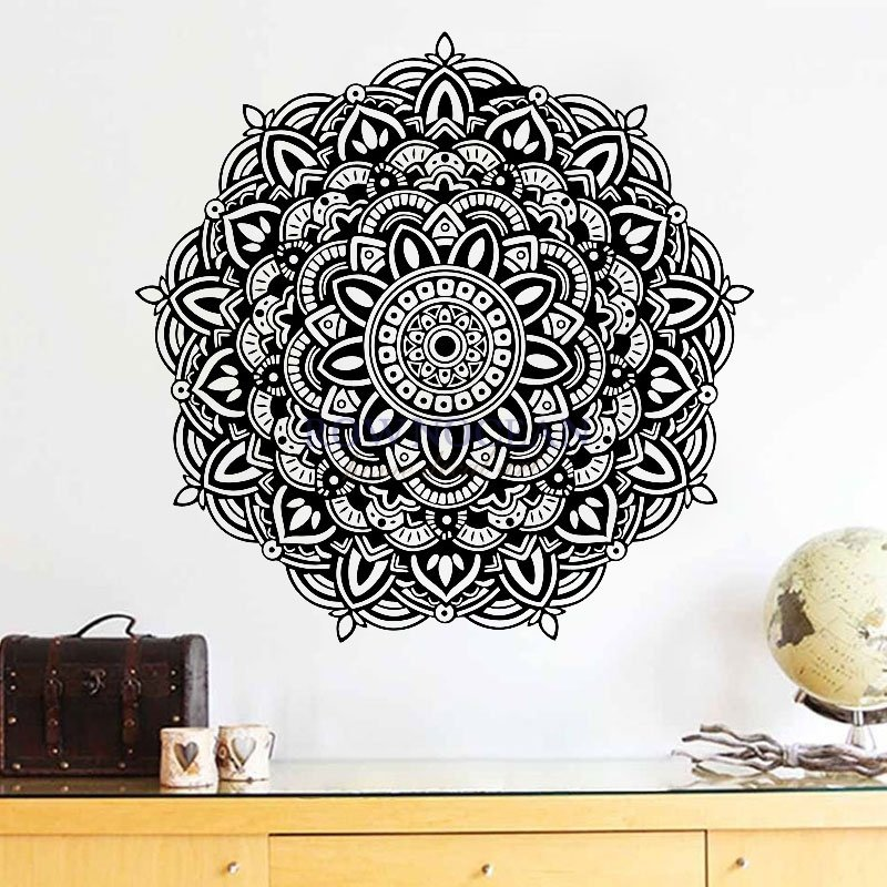 Mandala Yoga Wall Sticker Removable Vinyl Art Indian Round Household Wall Decals