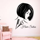 Fashion Girl Hairdressing Beauty Salon Wall Decor Scissors Comb Vinyl Decal Sticker