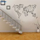 Abstract Map World Geography Earth Stickers Vinyl Wall Decals Nautical Home Decor