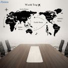 World Map Wall Sticker For Living Room Vinyl Art Decals Travel Map Interior Removable Mural
