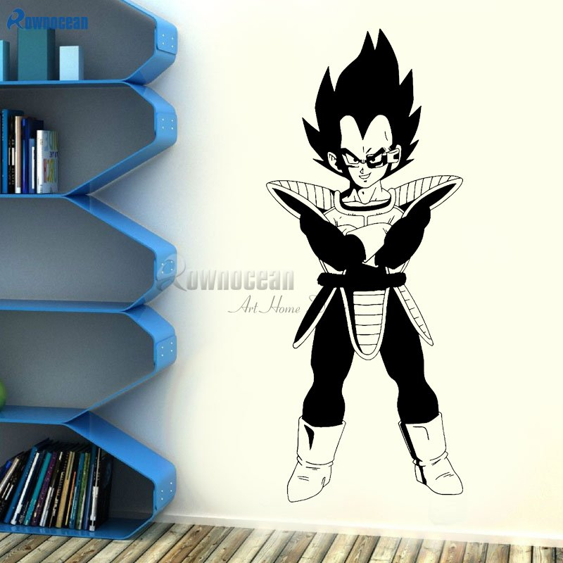 Vegeta Vinyl Wall Decal - Dragon Ball Z, DBZ Anime Wall Art, Manga Black Sticker