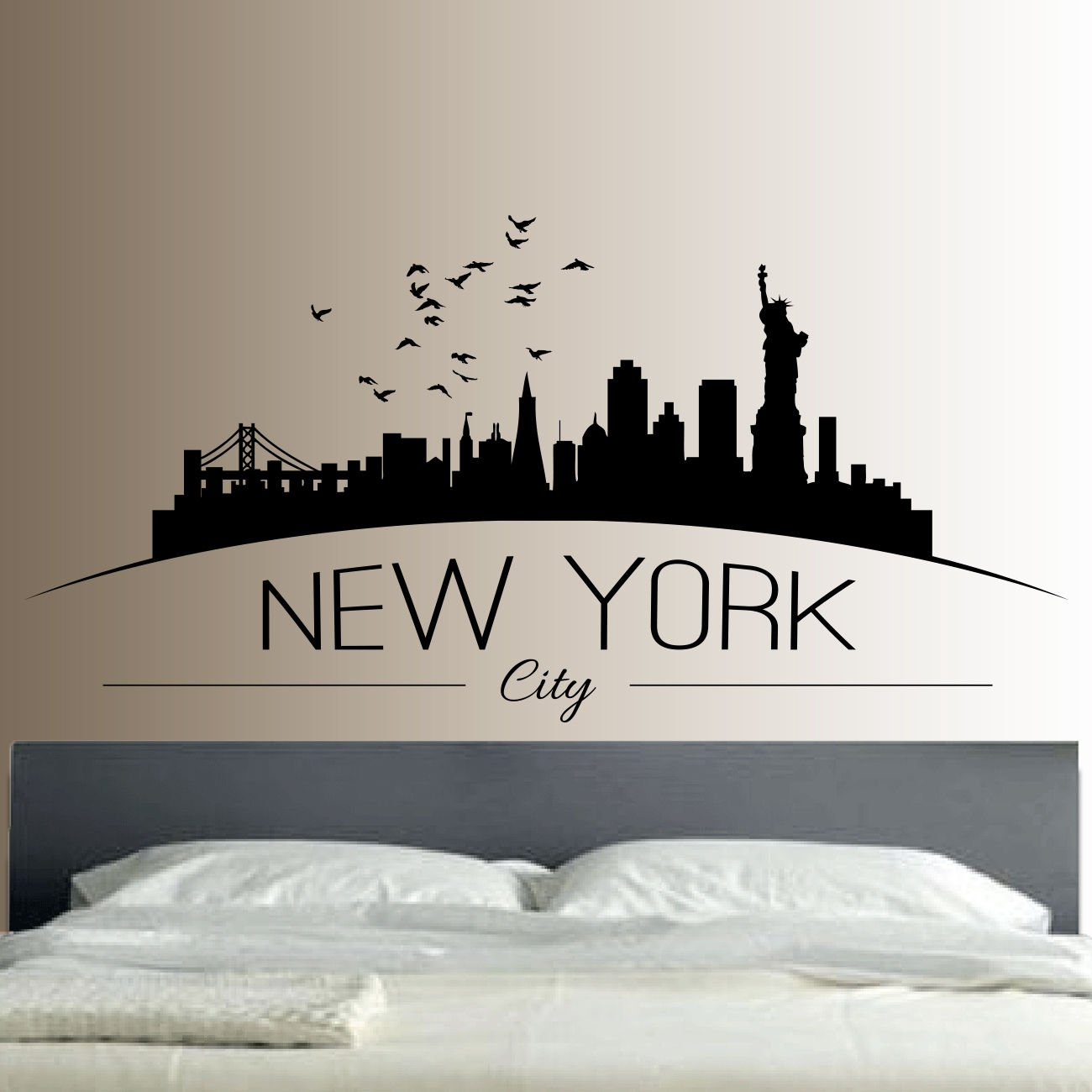 New York Skyline Wall Sticker Bedroom Lounge Wall Art Decal Removable Mural