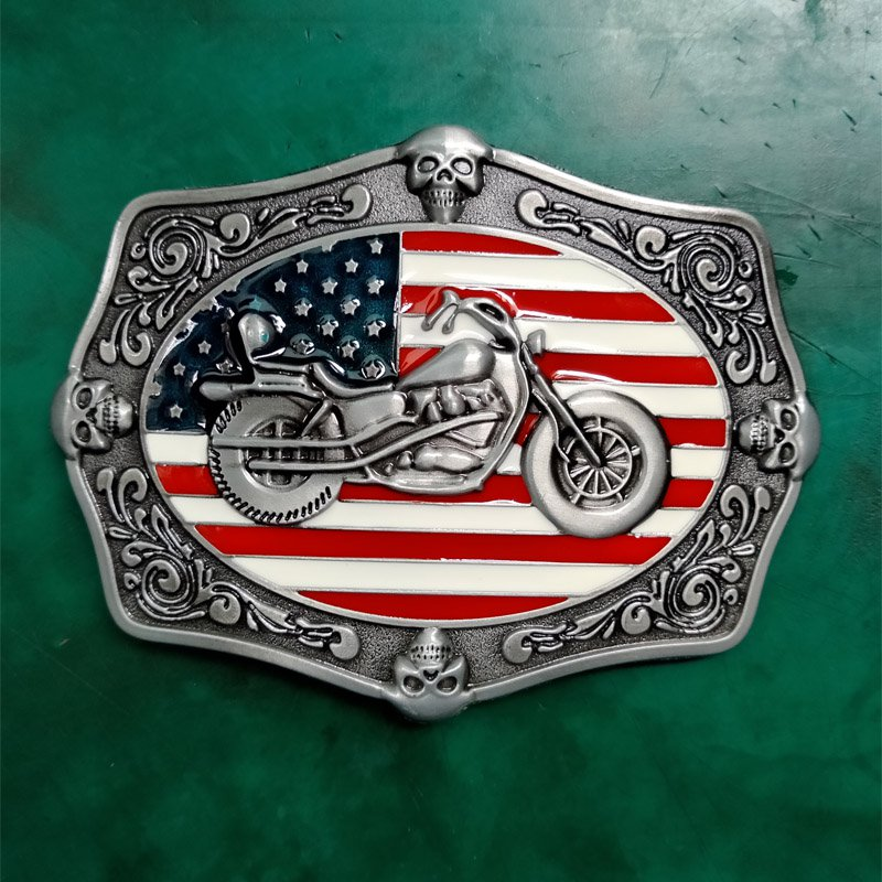 1 Pcs US Flag Motor Luxury Cowboy Belt Buckle For Mens Jeans Western Belt Head