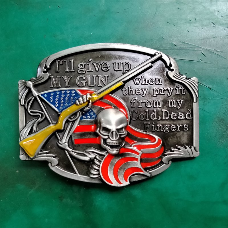 1 Pcs American Flag Gun Skull Cowboy Belt Buckle For Men Women Western Cowgirl Belt Head