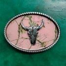 1 Pcs Pink With Silver Bull Head Luxury Western Cowboy Belt Buckle For Fashion Men