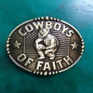 1 Pcs Bronze Flag Cowboys Of Faith Western Cowboy Metal Belt Buckle For Men