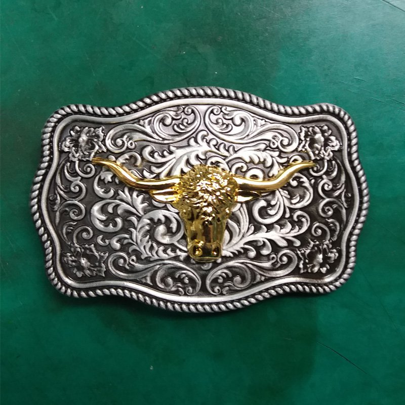 1 Pcs Flower Pattern Golden Bull Head Western Cowboy Metal Belt Buckle For Men