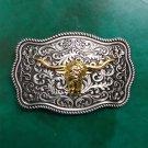 1 Pcs Flower Pattern Golden Bull Head Western Cowboy Metal Belt Buckle For Men