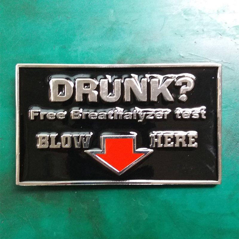 1 Pcs Drunk?Free Breathalyzer Test Western Cowboy Metal Belt Buckle For Men