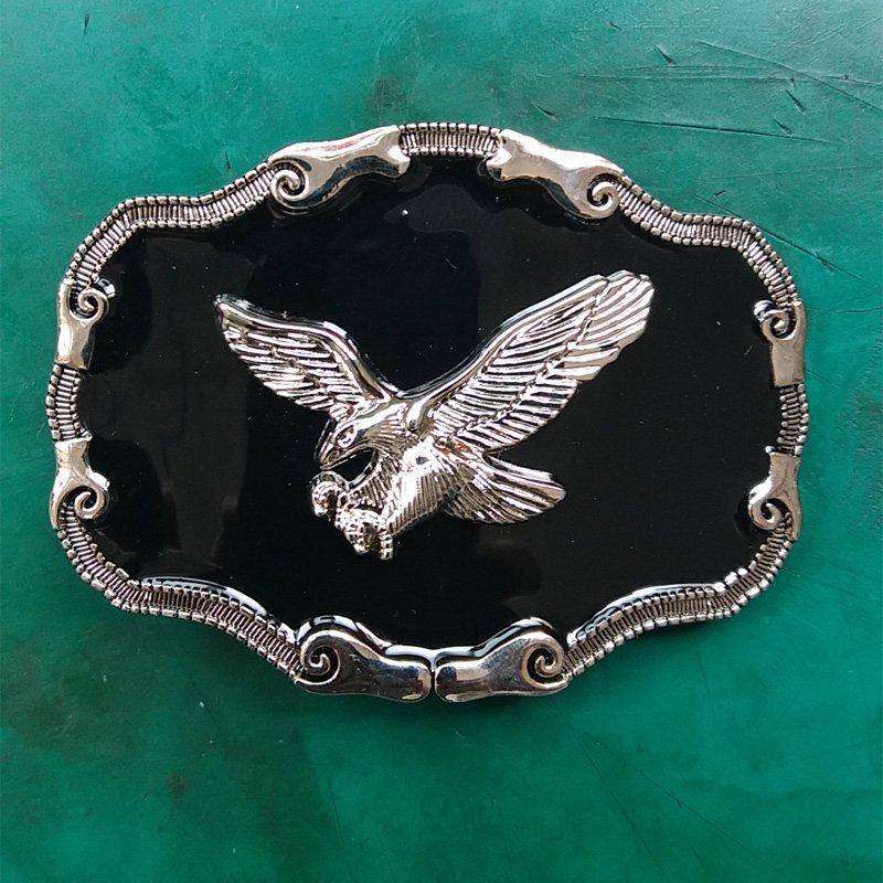 1 Pcs Black Silver Fly Eagle Western Cowboy Metal Belt Buckle For Men