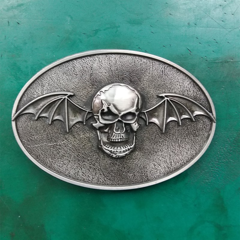 1 Pcs Silver Bat Skull Western Cowboy Metal Belt Buckle For Men