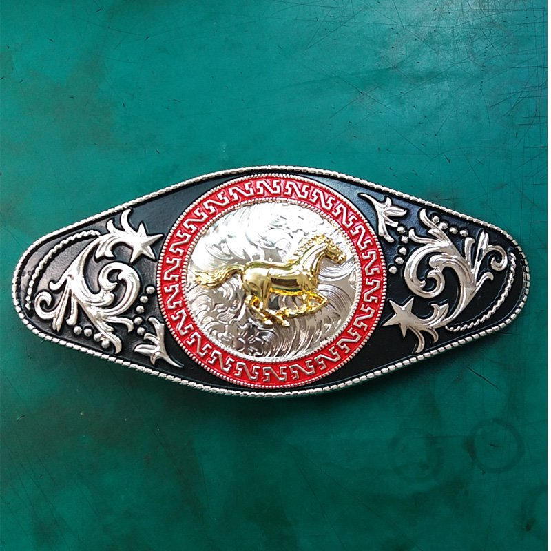 1 Pcs Golden Running Horse Luxury Brand Men's Western Cowboy Belt Buckle Fit For 4cm Width Belts