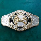 1 Pcs Silver Golden Horse Luxury Brand Men's Western Cowboy Belt Buckle Fit For 4cm Width Belts