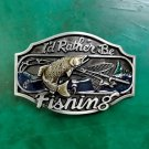 1 Pcs I'd Rather Be Fishing Luxury Men Western Cowboy Cowgirl Belt Buckle