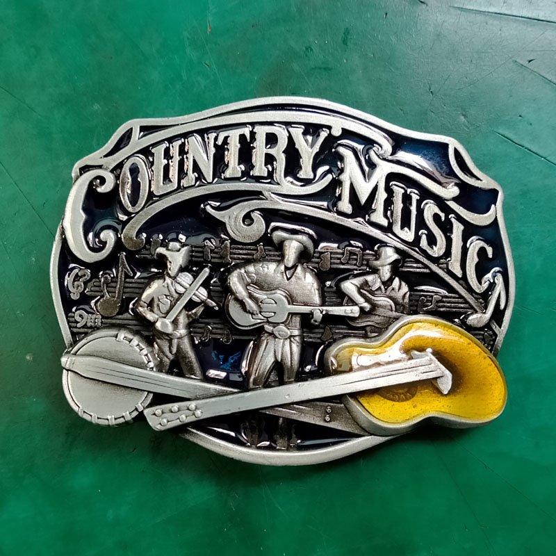 1 Pcs Country Music Guitar Luxury Men Western Cowboy Cowgirl Belt Buckle