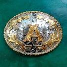 1 Pcs Silver Lace Gold A Letter Luxury Men Western Cowboy Cowgirl Belt Buckle