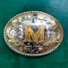 1 Pcs Silver Gold M Initial Letter Luxury Men Western Cowboy Cowgirl Belt Buckle