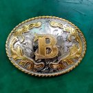1 Pcs Silver Lace Golden B Initial Letter Luxury Men Western Cowboy Cowgirl Belt Buckle