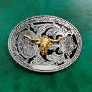 1 Pcs Flower Pattern Gold Bull Head Cowboy Metal Belt Buckle For Men's Jeans Belt Head