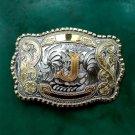 1 Pcs Big Size Lace Gold J Initial Letter Cowboy Metal Belt Buckle For Men's Jeans Belt Head