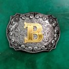 1 Pcs New Arrival Gold B Initial Letter Cowboy Metal Belt Buckle For Men's Jeans Belt Head