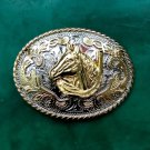 1 Pcs 3D Lace Gold Flower Horse Head Cowboy Metal Belt Buckle For Men's Jeans Belt Head